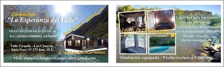 Alquilo cabaña en valle grande San Rafael mza